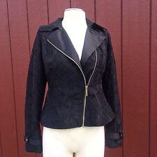 NEW YORK & COMPANY Black Lace Satin Moto Peplum Side Zip Jacket Coat XS $120