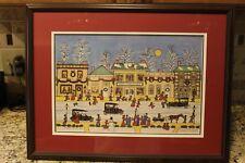 1990 Water Color Signed Grandma Fran Primitive/Folk art Merry Christmas 284/500