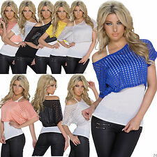 WOMEN TOP BLOUSE 2 IN 1 LACE CLUBBING LADIES PARTY SEXY SHIRT SIZE 6 8 10 12