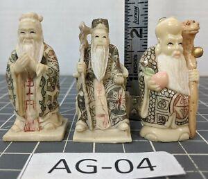 ** (3) Chinese Resin Figurines Fu,Lu,Shou AG-04