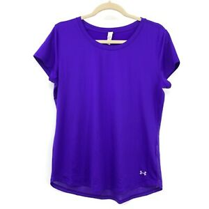 Under Armour Women Large T Shirt Top Heat Gear Fitted Purple Mesh Back Athletic