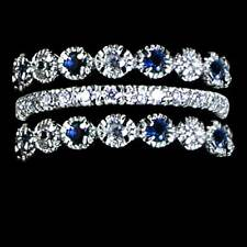 3-RING SET_BLUE SAPPHIRE AND CLEAR CZ ETERNITY BANDS RING_SIZE-10__925 SILVER-NF