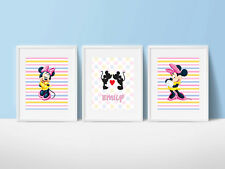Minnie Mouse Wall Art Prints Personalized with Name - Set of 3 UNFRAMED
