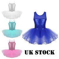 Children Girl Ballerina Costume Kid Ballet Leotard Dance Dress Sequins Dancewear