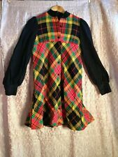 vintage Brady Bunch 70s plaid Button Down dress Size Xsmall / Small