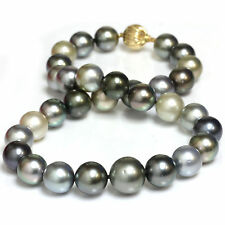 "Tahitian South Sea Pearl Necklace 16 -13 mm Multicolor 14k Yellow Gold 18""1/2"