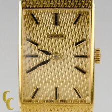 Juvenia Mujer 18k Oro Amarillo Cuadrado Correa Manual Reloj W/ Dorado Malla Band