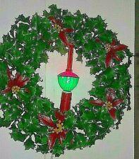VTG Christmas Vinyl Plastic Holly Wreath With Bubble Light Candle Hong Kong