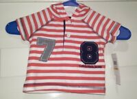 Calvin Klein Jeans NWT Boys Red White Striped Hooded Shirt Top Size 0 to 3 Month