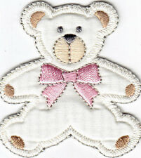 TEDDY BEAR w/PINK BOW - CHILDREN - BABIES - Iron On Embroidered Applique Patch