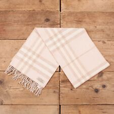 Vintage Mens Womens Burberry Pink Check Plaid Merino Wool Cashmere Scarf R16079