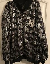 New York Yankees Black w/ Silver Graffiti Script Logos Bomber Style MLB Size 5XL