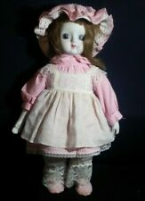 """Lovely Doll of Young Girl with Bisque Head & Cloth Body in Pretty Dress ~ 16"""""""