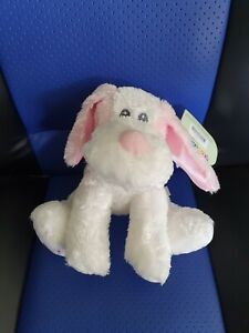 **Korimco pink and white SILKY DOG for Baby Girl**  - NEW - rattles
