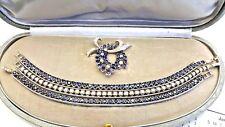 18K Gold Sapphire Diamond Brooch With 3 Bracelets Set by ''Cardinale Genova''