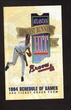 Atlanta Braves--Greg Maddux--1994 Pocket Schedule--Bulova