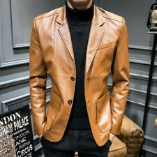 Men's Leather Jacket Slim Fit Two Button Blazer Lapel Coat Fall Casual Party New