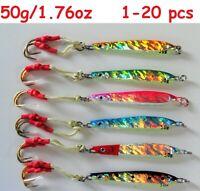 Vertical Fat Jigs 6 Pcs 130g 4.5oz Butterfly Rigged w Treble Hooks Free Bag