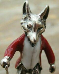 English Hallmarked Sterling Silver & Enamel Mr Tod Fox In Hunting Jacket & Stick