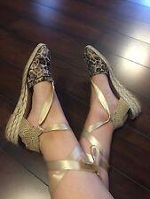 STUART WEITZMAN Cheetah Leopard Wrap Linen Low Heel Espadrille Wedge Sandals 8 M