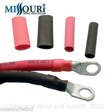 """3/8"""" Heat Shrink Tube for Copper Lugs 1 Foot Red 1 Foot Black (Total of 2 Feet)"""