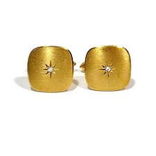 SOLID 14K YELLOW GOLD DIAMOND SWING BACK CUFFLINKS