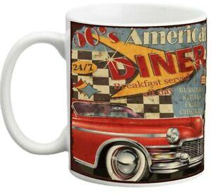10 oz 50s American diner distressed porcelain mug