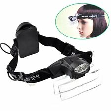 Lighted Magnifying Head Lamp Magnifier Glasses Visor with led Light Hands Fre...
