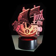 3D Nuit Lumière Lampe Acrylique ONE PIECE THOUSAND SUNNY Bateau Pirate Cadeau