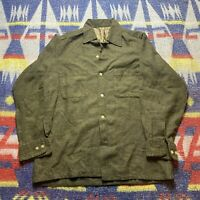 1950s Vintage Wool Loop Collar Button Up Shirt Army Green M