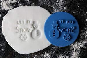 Let it snow cookie embosser, Christmas cookie stamp, fondant embosser