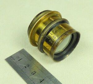 ANTIQUE BRASS LENS - f-STOPS 8-64 and LEAF DIAPHRAGM - For a Field Camera