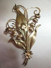 """Fab Vtg 40s RALEIGH LILY OF VALLEY FLOWER Sterling Silver GF Big 3.5"""" Pin Brooch"""