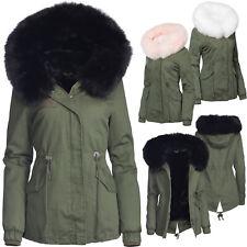 Trises Damen Winter jacke 3in1 Pelz Kapuze 100% Baumwolle Fell Kragen Warm