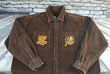 Warner Brothers Studio Store Scooby Doo Brown Corduroy Button Down Shirt Sz XL