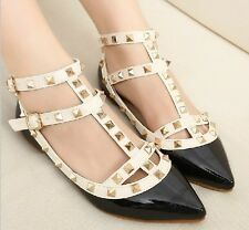 Vogue Womens T-strap Studded Rivet Flats Pointed Toe Party Shoes Strappy Pumps