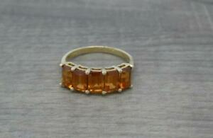 Stunning 9ct Yellow Gold Five Stone 3.80ct Madeira Citrine Ring UK Size P 1/2