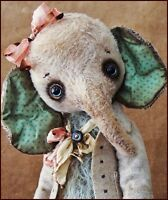 by Alla Bears artist Old Antique Vintage Elephant Teddy Bear art doll OOAK baby