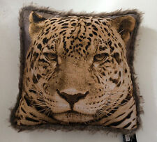 DELUXE LEOPARD FACE FUR TRIM ANIMAL PRINT CUSHION COVER HOME DECOR LOUNGE BED