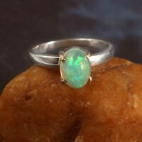 #925 Sterling Silver Fine Ring  Natural Ethiopian Fire Opal Oval shape Size 6X10