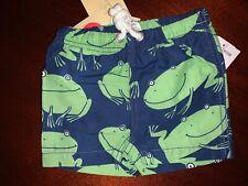 Nwt 3-6M Mini Boden Navy Blue Swim Trunks w/ Green Frog Pattern