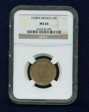 MEXICO ESTADOS UNIDOS 1938 10 CENTAVOS COIN CERTIFIED UNCIRCULATED NGC MS-64