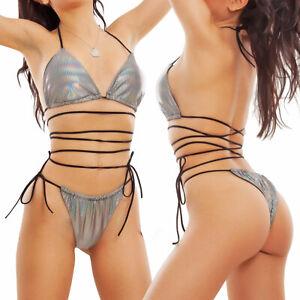 Bikini donna olografico triangolo brasiliana costume Made Italy TOOCOOL W1095-J
