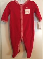 NWT Carters Baby Christmas Santa Cotton Thermal Sleep & Play Coverall - 3 Months