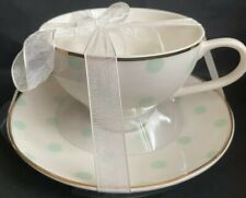 MERITAGE Cup And Saucer Cream With Seafoam Dots Gold Trim Brand New