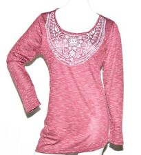 Women's Long Sleeve, Crew Neck T-Shirt in Wine - Large