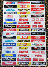 Slot Car Scalextric Nascar Stock Car 1/32nd Pegatinas de barrera signos calcomanías x52!