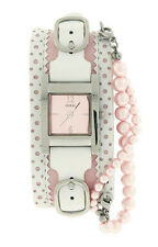 Guess 80302L3 Women's Square Pink Analog Faux Pearls Pink Bund Strap Watch