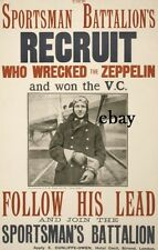 WW1 RECRUITING POSTER BRITISH ARMY SPORTSMANS BATTALION VC WINNER NEW A4 PRINT