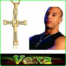 Necklace Vin Diesel Fast Furious Dominic Toretto Gold Cross Pendant Crystal NK12